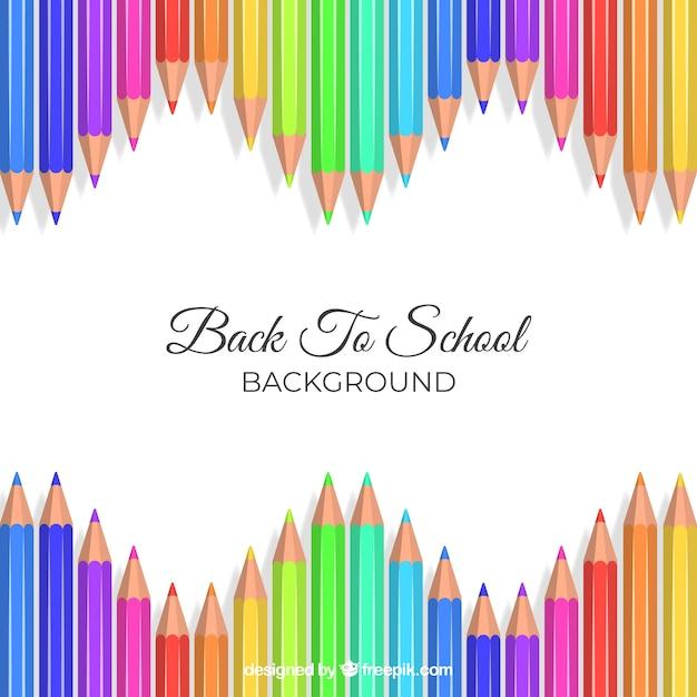 Retour à l'arrière-plan de l'école avec des crayons de couleur Vecteur Premium