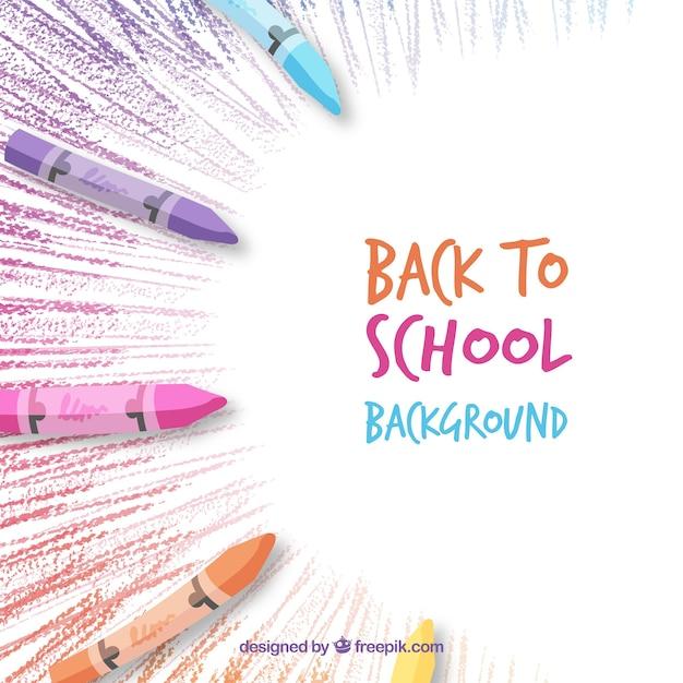 Retour à l'arrière-plan de l'école avec des crayons Vecteur gratuit