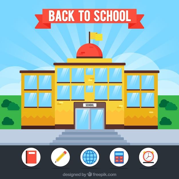 Retour à l'arrière-plan de l'école avec un design plat Vecteur gratuit