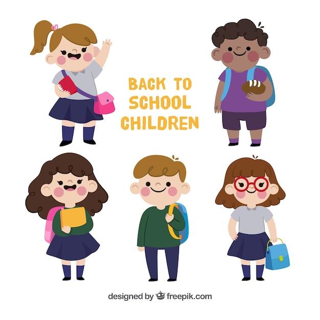 Retour à l'arrière-plan de l'école avec des enfants heureux Vecteur gratuit