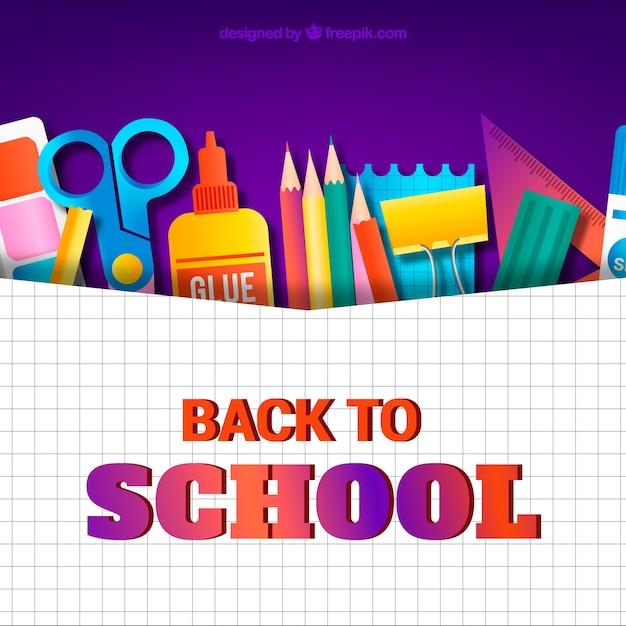 Retour à l'arrière-plan de l'école avec des outils Vecteur gratuit