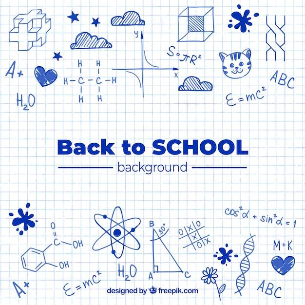 Retour à l'arrière-plan de l'école avec style dessiné à la main Vecteur gratuit