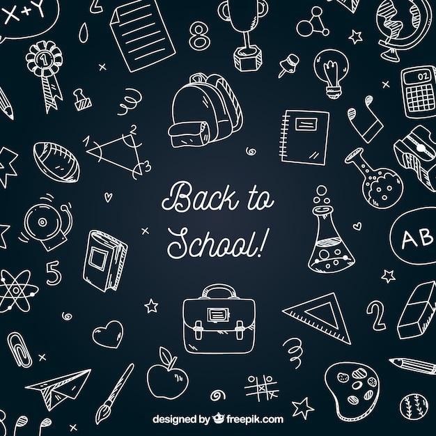 Retour à l'arrière-plan de l'école avec le style tableau noir Vecteur gratuit