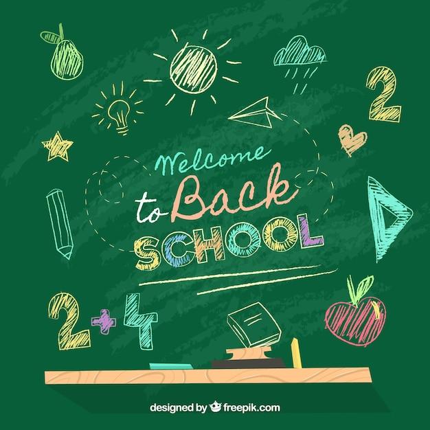 Retour à l'arrière-plan de l'école avec tableau noir Vecteur gratuit