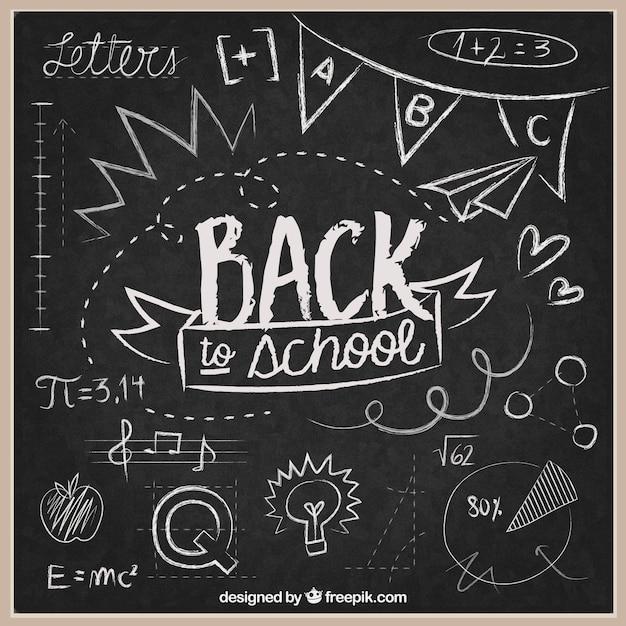 Retour à L'arrière-plan De L'école Sur Tableau Noir Vecteur gratuit