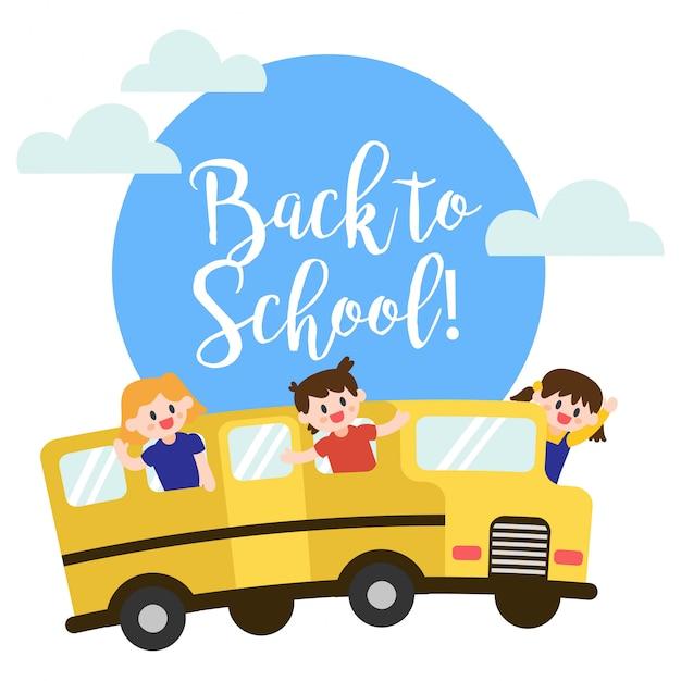 Retour au bus scolaire Vecteur Premium