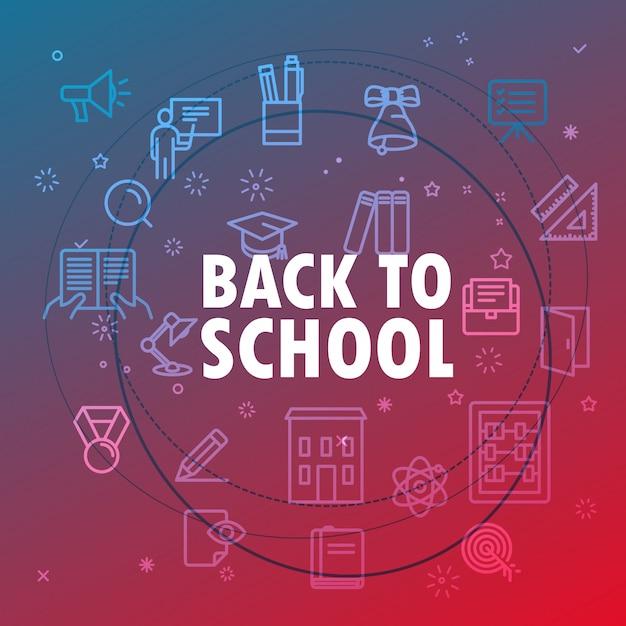 Retour au concept d'école. différentes icônes de fine ligne incluses Vecteur Premium