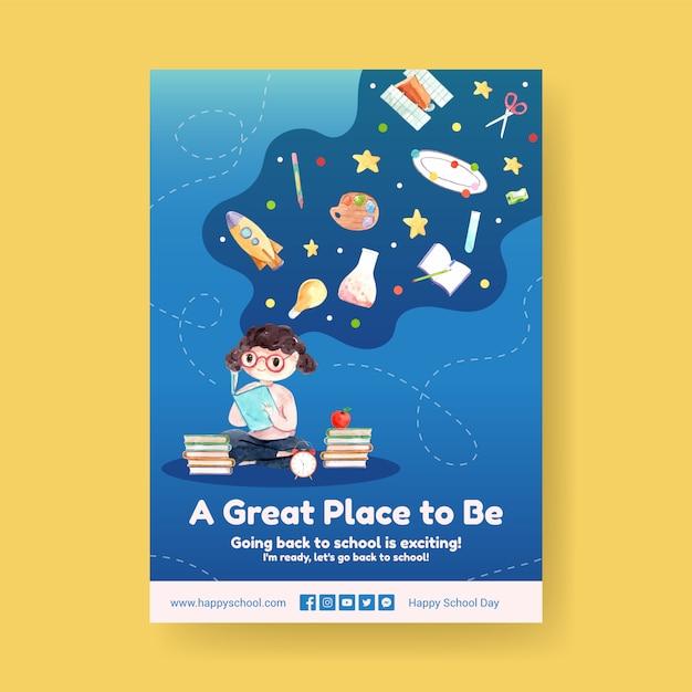 Retour Au Concept D'école Et D'éducation Avec Modèle D'affiche. Vecteur gratuit
