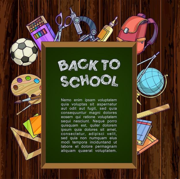 Retour au concept d'école. tableau vert avec des fournitures scolaires. Vecteur Premium