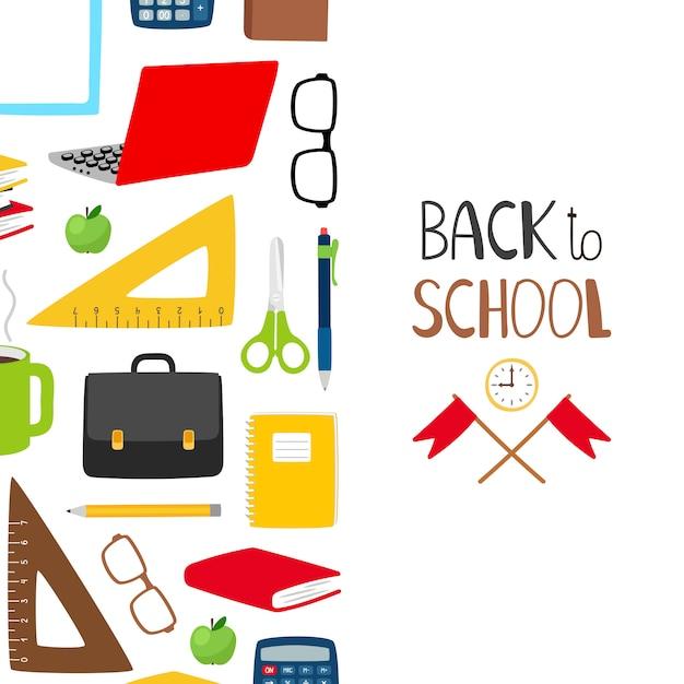 Retour Au Fond De L'école. Bannière De L'école Avec Papeterie, Livres, Verres Vecteur Premium