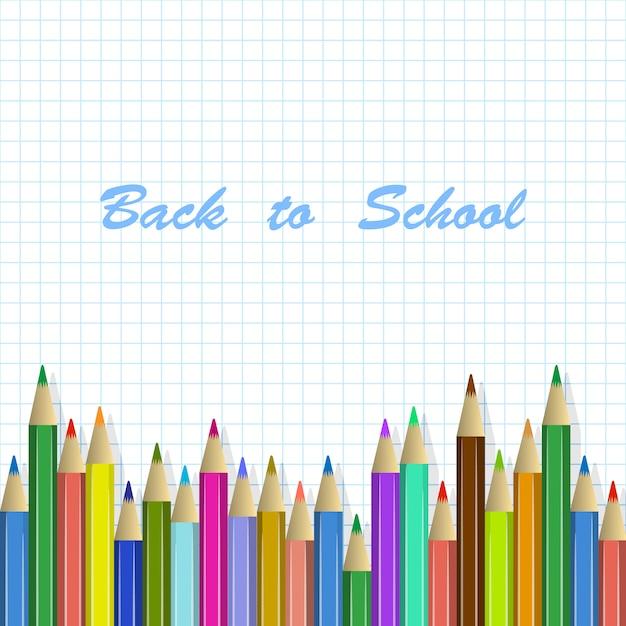 Retour au fond d'école, crayons de couleur Vecteur Premium