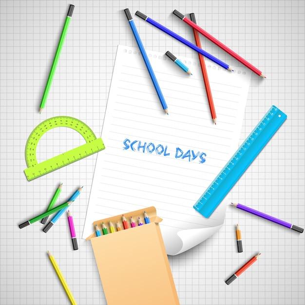 Retour Au Fond De L'école Avec Des Fournitures Scolaires Colorées Vecteur gratuit