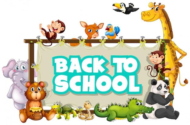 Retour au modèle d'école avec des animaux Vecteur gratuit