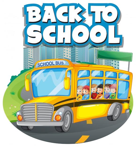 Retour au modèle d'école avec autobus scolaire Vecteur gratuit
