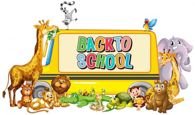Retour au modèle d'école avec bus Vecteur gratuit