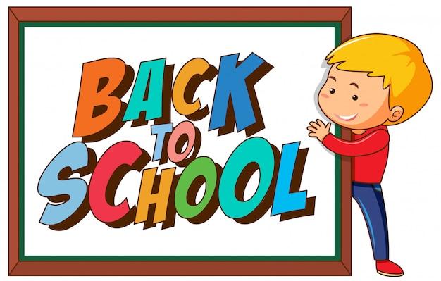 Retour au modèle d'école avec garçon Vecteur gratuit