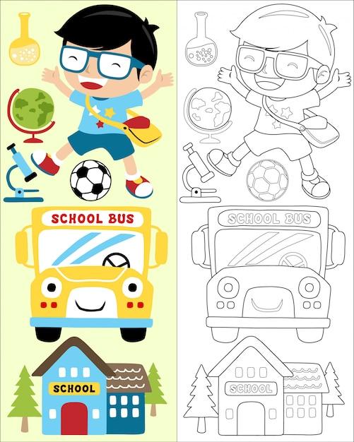 Retour au vecteur de dessin animé de l'école Vecteur Premium