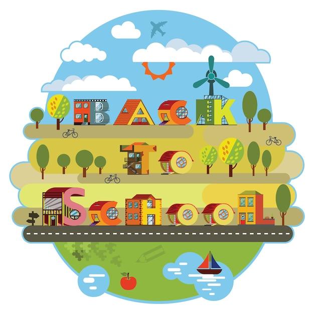 Retour à l'autocollant de l'école. paysage urbain de ville alphabétique dans un style design plat Vecteur Premium