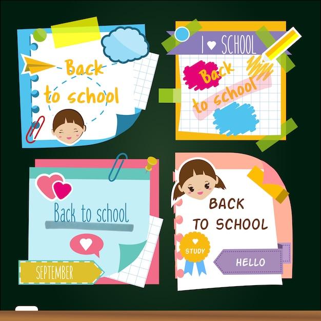 Retour aux autocollants de l'école. mémoire notes autocollantes, symboles d'étude. Vecteur Premium