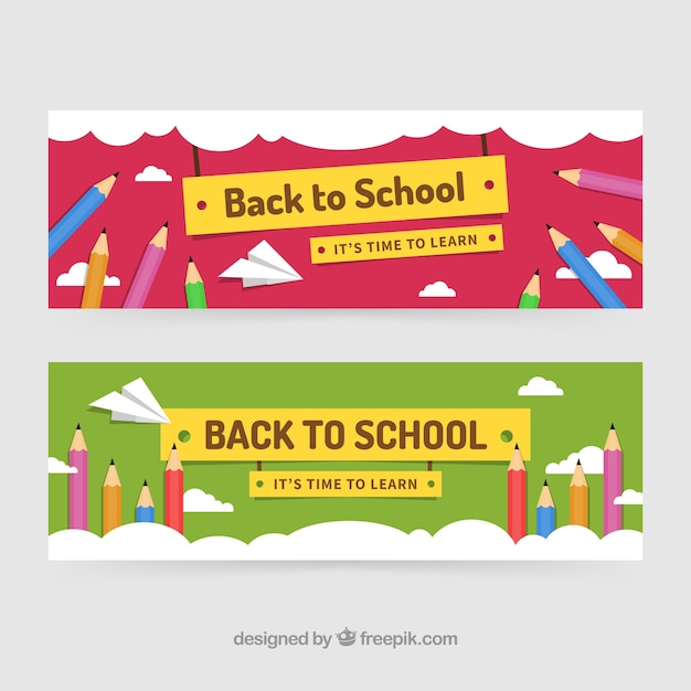 Retour aux bannières d'école avec des crayons de couleur Vecteur gratuit