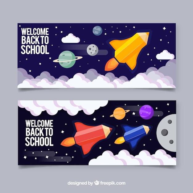 Retour aux bannières de l'école avec un design plat Vecteur gratuit