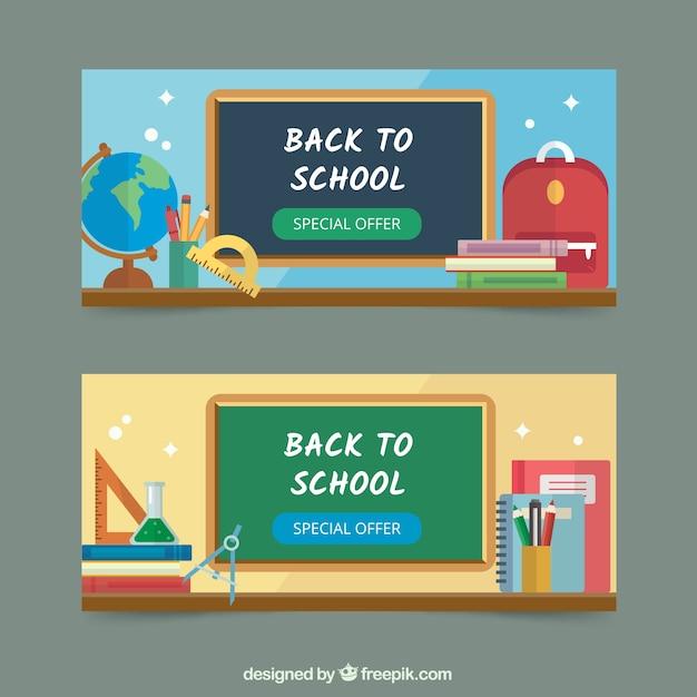 Retour aux bannières d'école avec des éléments Vecteur gratuit