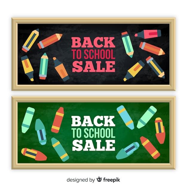 Retour aux bannières de vente scolaire Vecteur gratuit