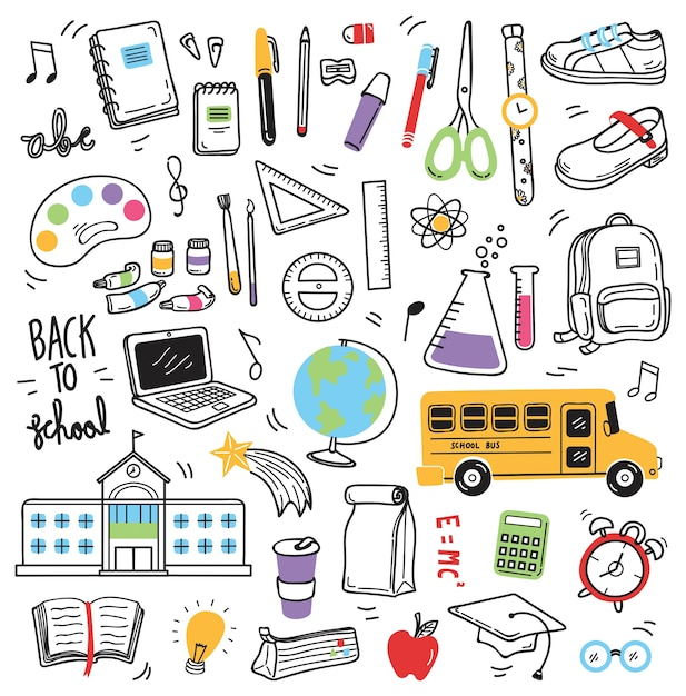 Retour aux éléments de doodle scolaire Vecteur Premium