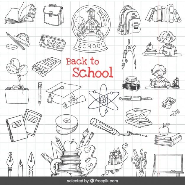 Retour Aux Icônes De L'école Mis En Vecteur gratuit