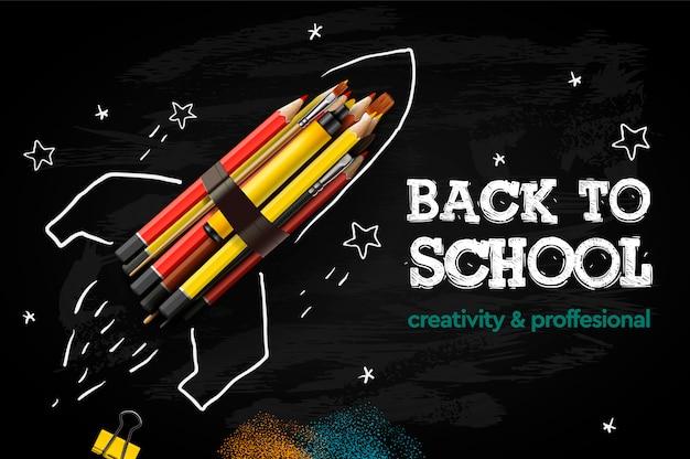 Retour à La Bannière Créative De L'école. Lancement De Fusée Avec Des Crayons - Croquis Sur Le Tableau Noir, Illustration. Vecteur Premium