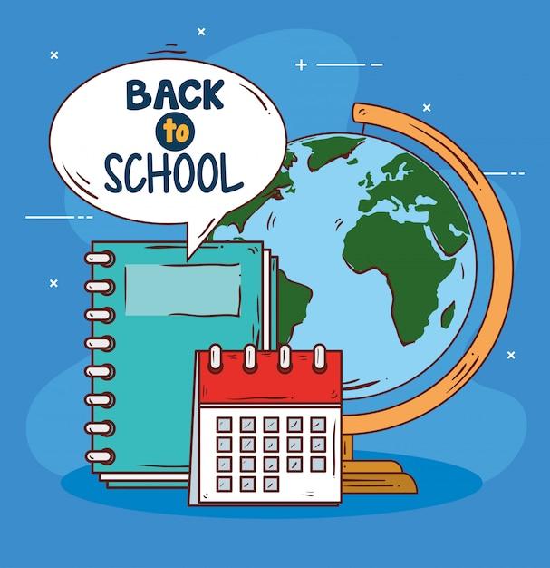 Retour à La Bannière De L'école Avec La Planète Mondiale Et Fournit L'éducation Vecteur Premium