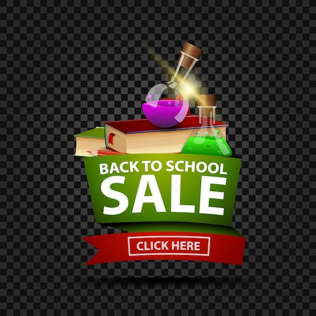 Retour à la bannière de réduction de vente école isolé Vecteur Premium