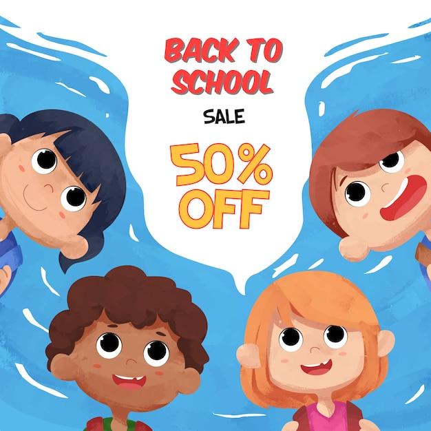 Retour à La Bannière De Vente D'école Avec Des Personnages D'enfants Aquarelles Vecteur Premium