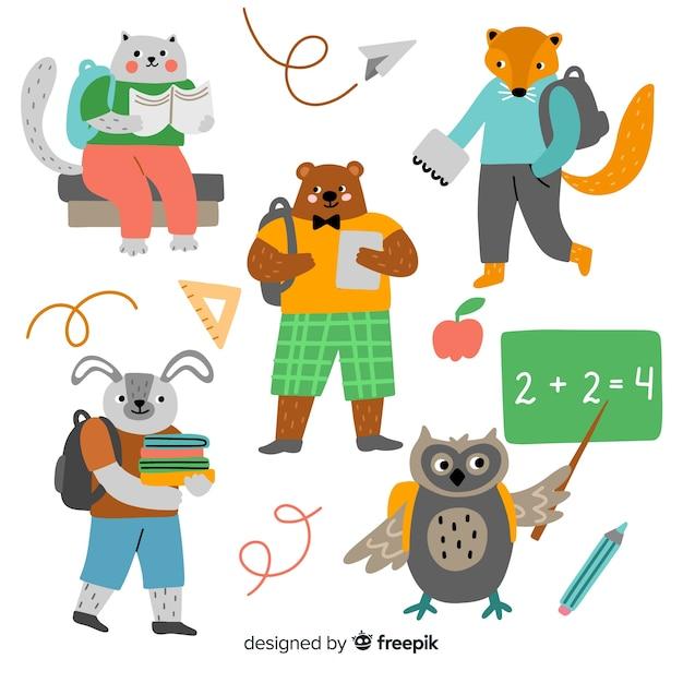 Retour à la collection d'animaux de l'école Vecteur gratuit