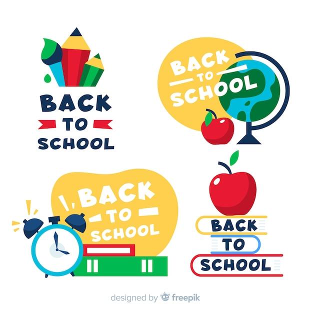 Retour à la collection d'étiquettes et de badges d'école Vecteur gratuit