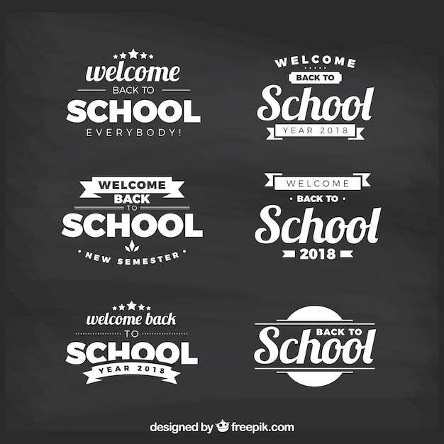 Retour à la collection d'étiquettes de l'école avec un design plat Vecteur gratuit