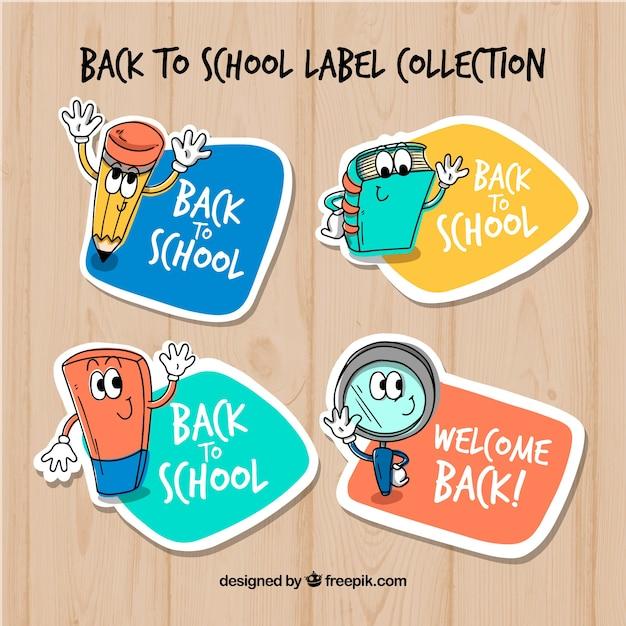 Retour à la collection d'étiquettes d'école avec des éléments Vecteur gratuit