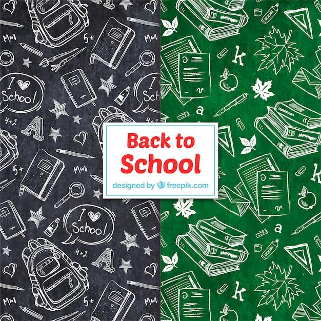 Retour à la collection de patrons de l'école avec des éléments Vecteur Premium