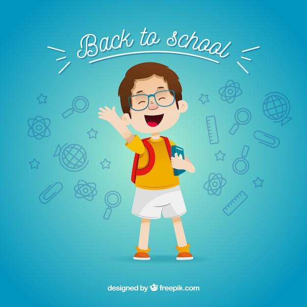 Retour à la composition de l'école avec garçon plat Vecteur gratuit