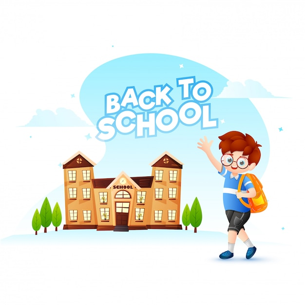 Retour à la conception d'affiche ou de bannière d'école avec le personnage de dessin animé de Vecteur Premium