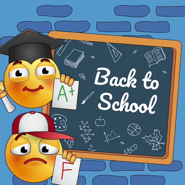 Retour à la conception des affiches scolaires. dessin animé étudiant smiley à bord Vecteur gratuit