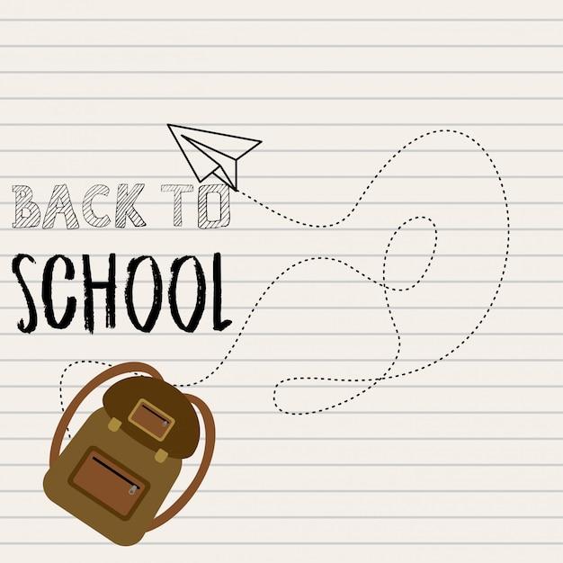 Retour à la conception de l'école avec le vecteur de fond blanc Vecteur gratuit