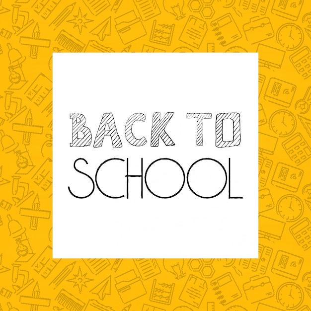 Retour à la conception de l'école avec le vecteur de fond jaune Vecteur gratuit