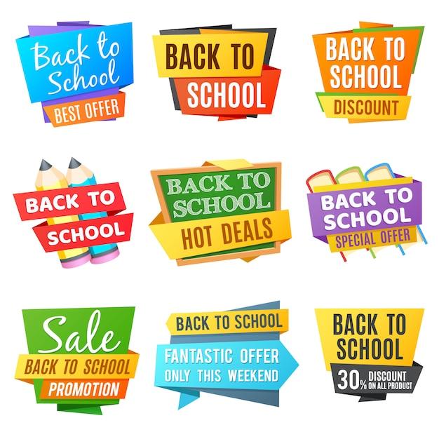 Retour créatif aux bannières publicitaires de vecteur scolaire. bannière couleur école, offre spéciale de retour à l'illustration de l'école Vecteur Premium