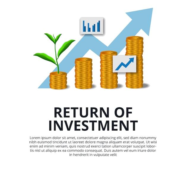Retour de la croissance de l'investissement investissant dollar pièce de monnaie du marché boursier d'or et planter des arbres poussent succès Vecteur Premium