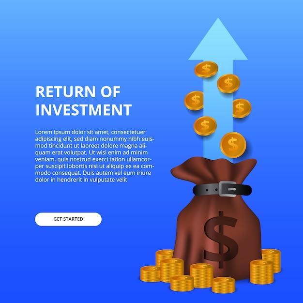 Retour du concept d'illustration de retour sur investissement avec sac d'argent et pièce d'or Vecteur Premium