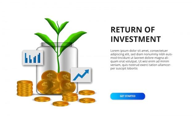 Retour du concept de retour sur investissement avec illustration d'une pièce d'or dans la bouteille en verre et la croissance des feuilles de la plante Vecteur Premium
