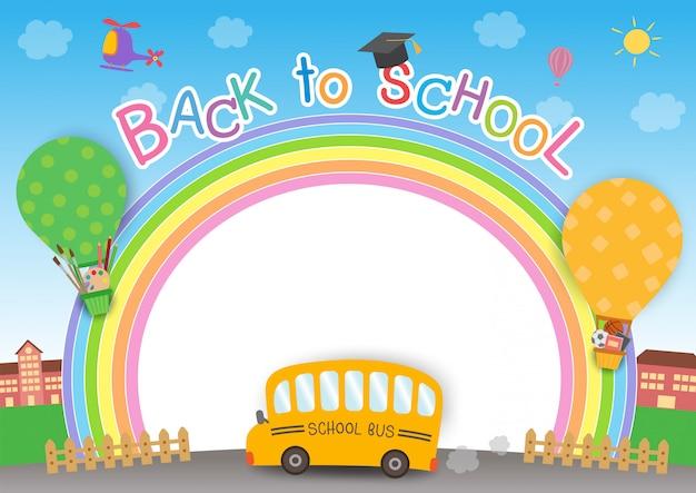 Retour à l'école arc-en-ciel Vecteur Premium