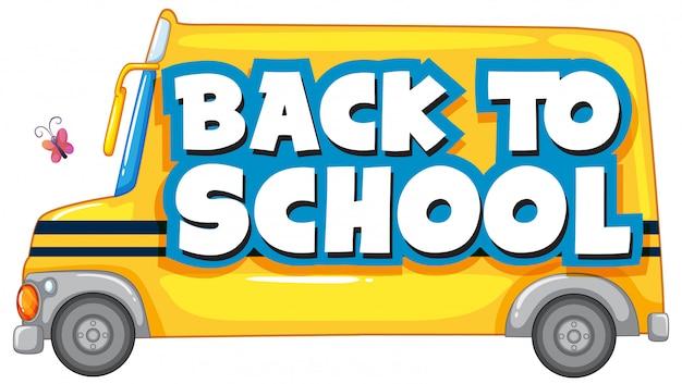 Retour à l'école avec autobus scolaire Vecteur gratuit