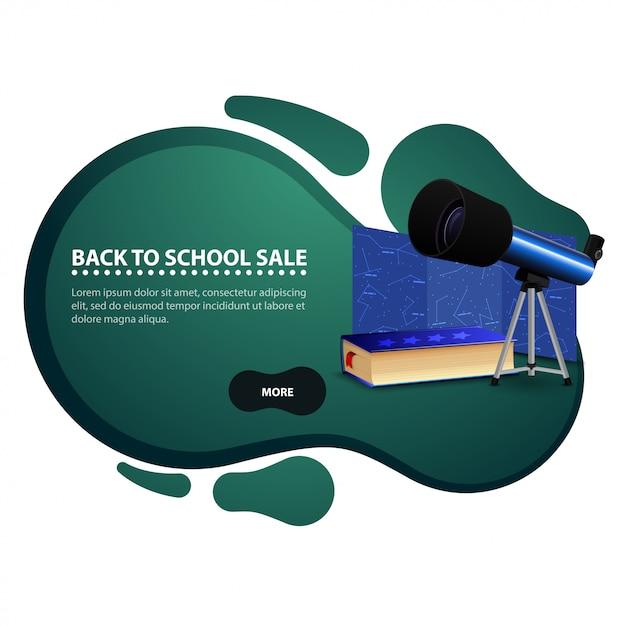De retour à l'école, bannière de remise moderne sous forme de lignes lisses pour votre entreprise avec un télescope Vecteur Premium
